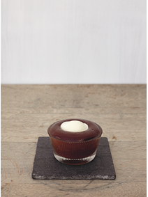 <p>From The Sportsman: Warm Chocolate Mousse with Milk Sorbet and Salted Caramel</p>