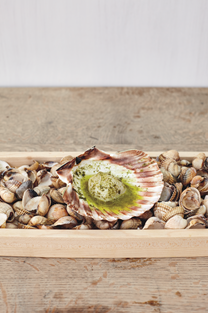 From The Sportsman: Scallop with House-Made Seaweed-Butter (recipes for both seaweed and butter, as well as seaweed-butter, c