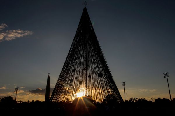 A giant Christmas tree stands in Juan Pablo II square in Managua, Nicaragua.