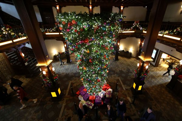 An upside down Christmas tree is shown on display in the lobby of the Hotel Del in Coronado, California, U.S.