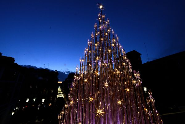 A Christmas tree stands at the Spanish Steps in central Rome.
