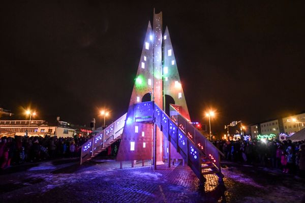 This unusual Christmas tree was designed by local artist Teet Suur and made from wood.