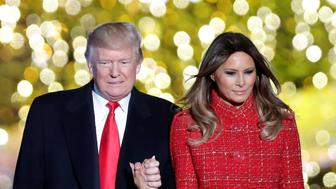 U.S. President Donald Trump and First Lady Melania Trump attend the National Christmas Tree Lighting and Pageant of Peace ceremony on the Ellipse near the White House in Washington, U.S., November 30, 2017. REUTERS/Carlos Barria