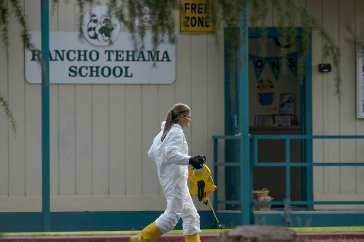 FBI investigators process evidence at Rancho Tehama Elementary School on Nov. 14.