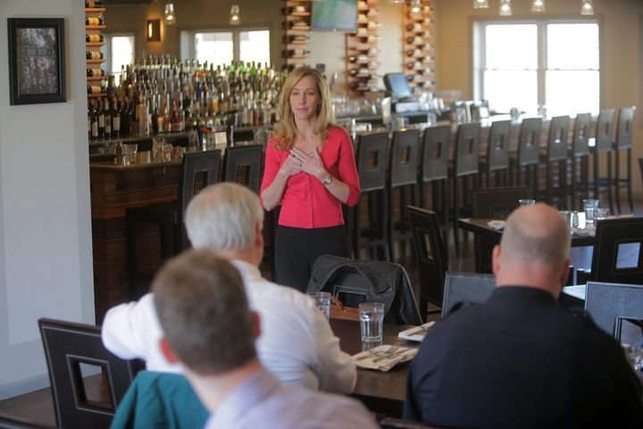 Michele Gay speaks about school security at a luncheon.