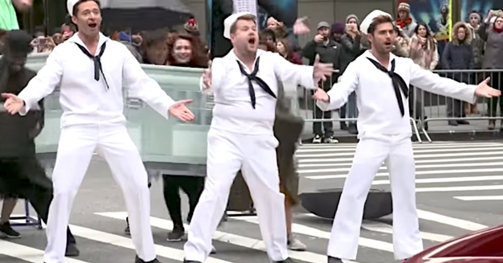 James Corden, Hugh Jackman, Zendaya, Zac Efron Bring The Circus To NYC Streets