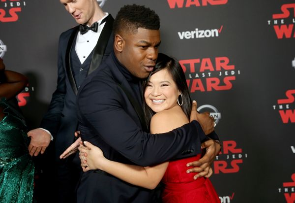 Actors John Boyega (L) and Kelly Marie Tran at Star Wars: The Last Jedi Premiere.