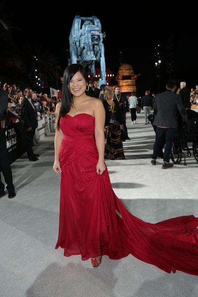 Kelly Marie Tran arrives on the red carpet for the world premiere of Star Wars: The Last Jedi.