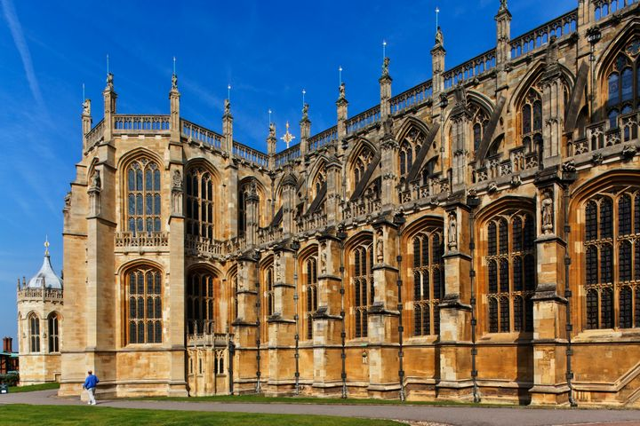 An exterior shot of St George's Chapel at Windsor Castle in Berkshire, England.