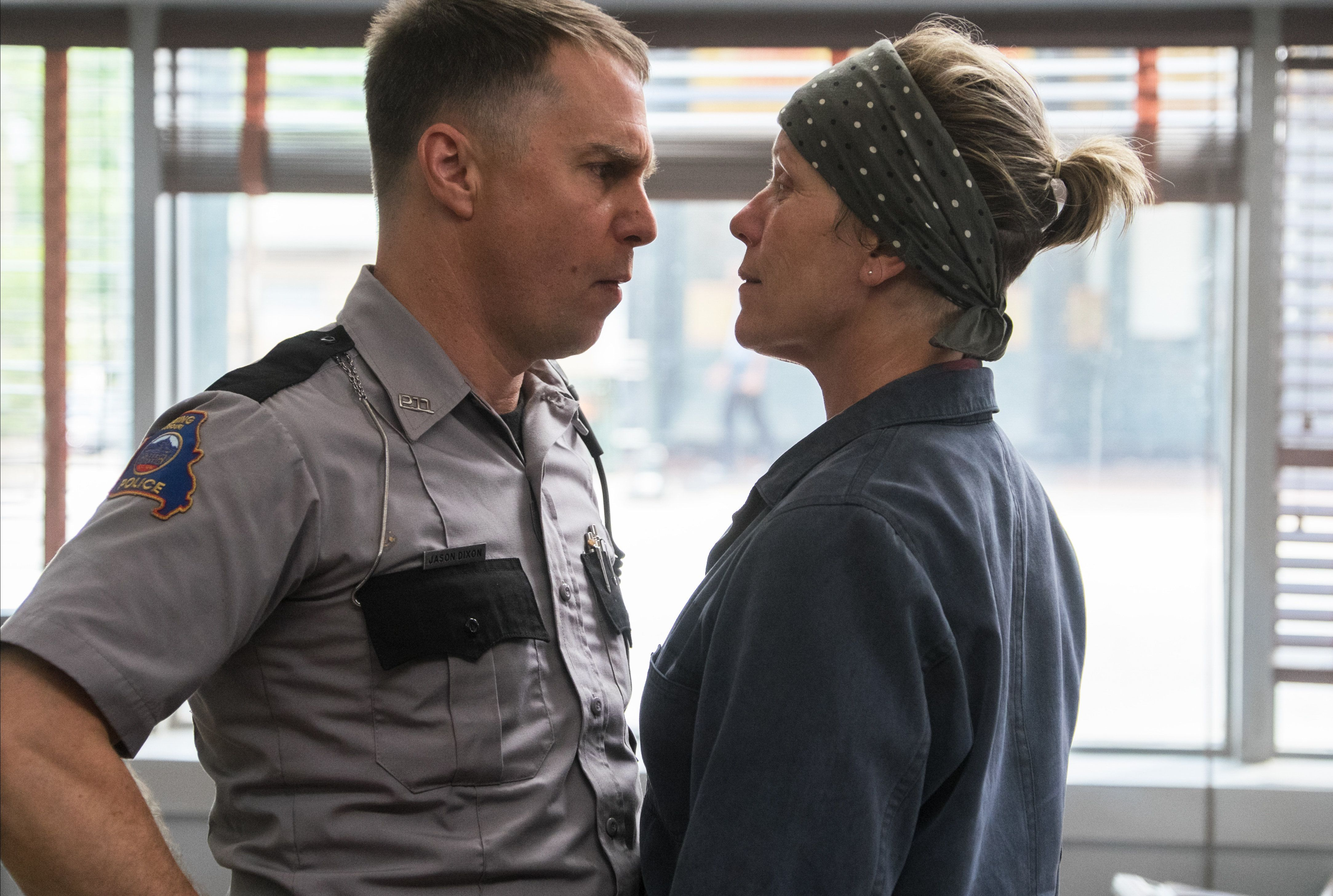 "Sam Rockwell and Frances McDormand face off in ""Three Billboards Outside Ebbing, Missouri."""