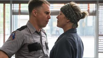 Sam Rockwell and Frances McDormand in the film THREE BILLBOARDS OUTSIDE EBBING, MISSOURI. 