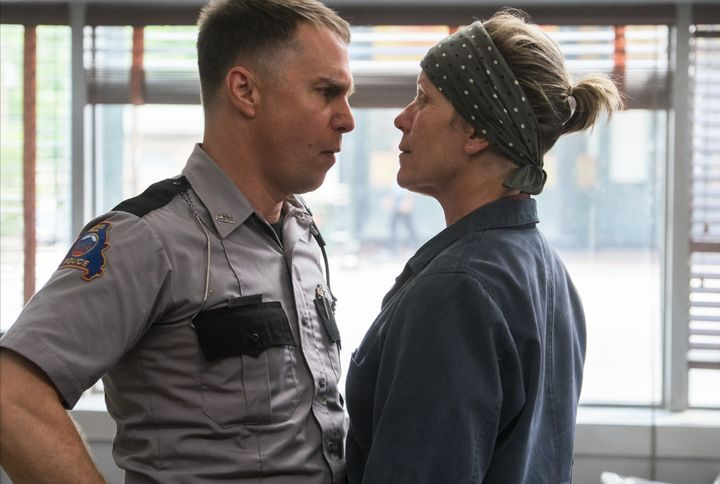 """Sam Rockwell and Frances McDormand face off in """"Three Billboards Outside Ebbing, Missouri."""""""