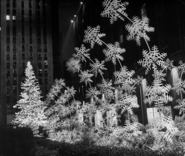 Christmas decorations at Rockefeller Plaza in 1949.
