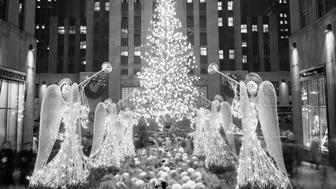 (Original Caption) The famed Rockefeller Center Christmas tree, this year a Norway spruce 65 feet high, lights up the plaza and the skating rink as the switch is thrown, December 8th, on some 2,500 bulbs and 1,400 globes: red, white, blue and yellow. This was the 23rd consecutive year for the spectacular display in the heart of New York.