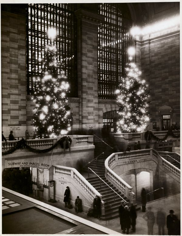 Christmas trees inside Grand Central Terminal.