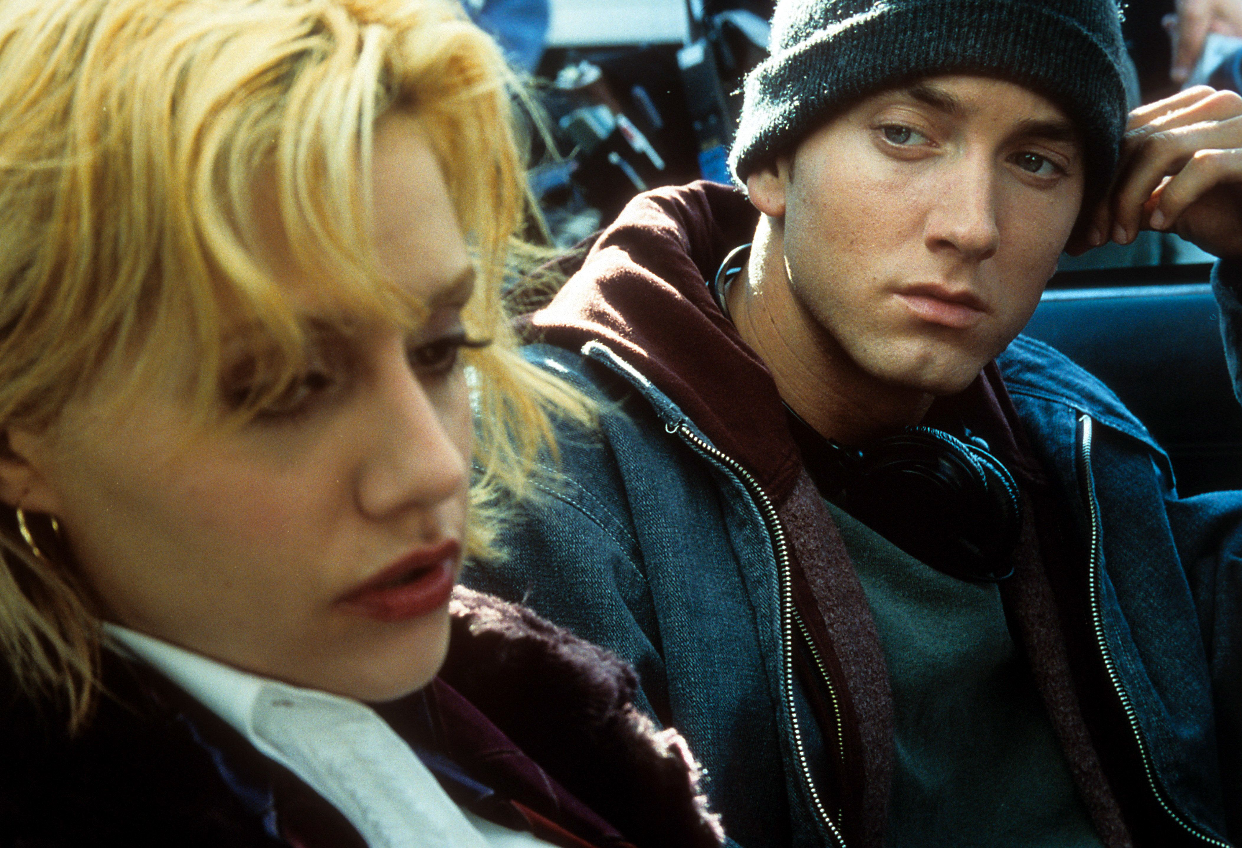 Eminem looking over at Brittany Murphy in a scene from the film '8 Mile', 2002. (Photo by Universal/Getty Images)