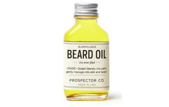 """<strong><a href=""""http://www.prospectorco.com/products/burroughs-beard-oil"""" target=""""_blank"""">Burroughs beard oil</a>, $28</stro"""