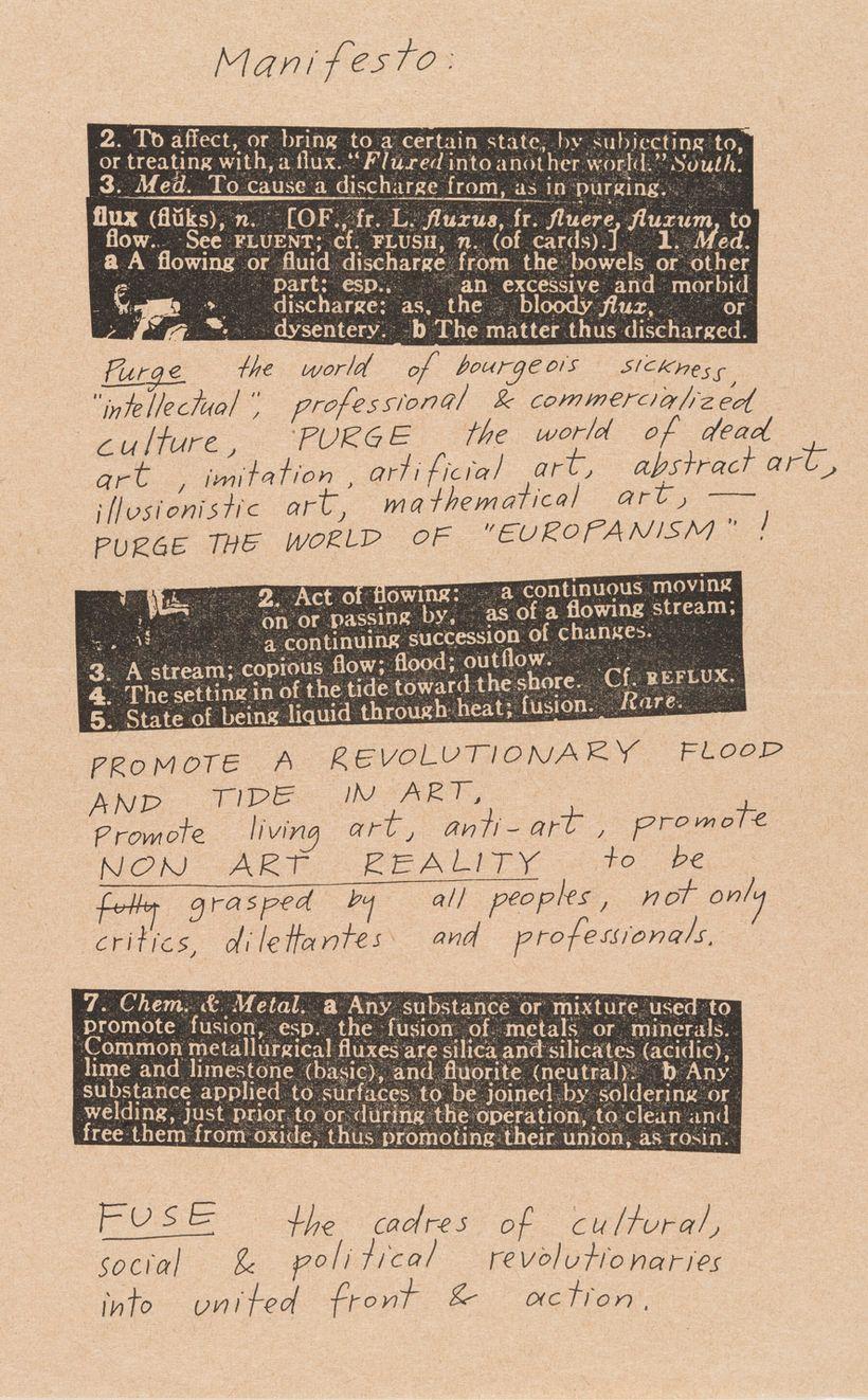 Fluxus Manifesto, 1963.