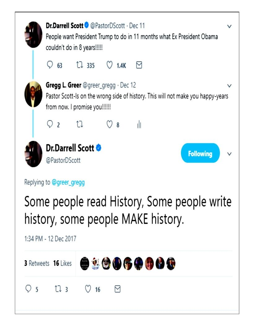 """Twitter exchange-between Gregg L.Greer and Pastor Scott who discussed, """"making history with Donald Trump."""""""