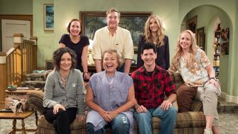 """ROSEANNE - """"Twenty Years to Life"""" - """"Roseanne,"""" the timeless sitcom that broke new ground and dominated ratings in its original run, will return to ABC with all-new episodes, in a special hour-long premiere, TUESDAY, MARCH 27 (8:00-9:00 p.m. EDT). """"Roseanne"""" will air in its regular time slot, 8:00-8:30 p.m., beginning TUESDAY, APRIL 3. (ABC/Adam Rose)SARA GILBERT, LAURIE METCAF, ROSEANNE BARR, JOHN GOODMAN, MICHAEL FISHMAN, SARAH CHALKE, ALICIA GORANSON"""