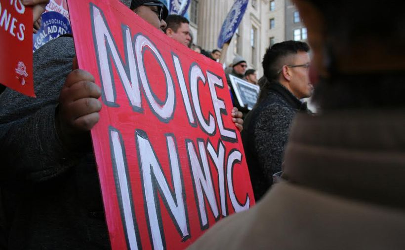 """Demonstrators from the Immigrant Defense Project and other organizations at a """"ICE Out of the Courts"""" rally."""