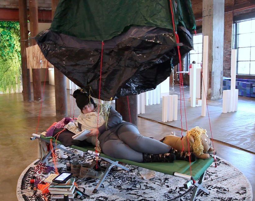 performance still, <em>Temporary Habitat </em>(2017) by Katya Grokhovsky