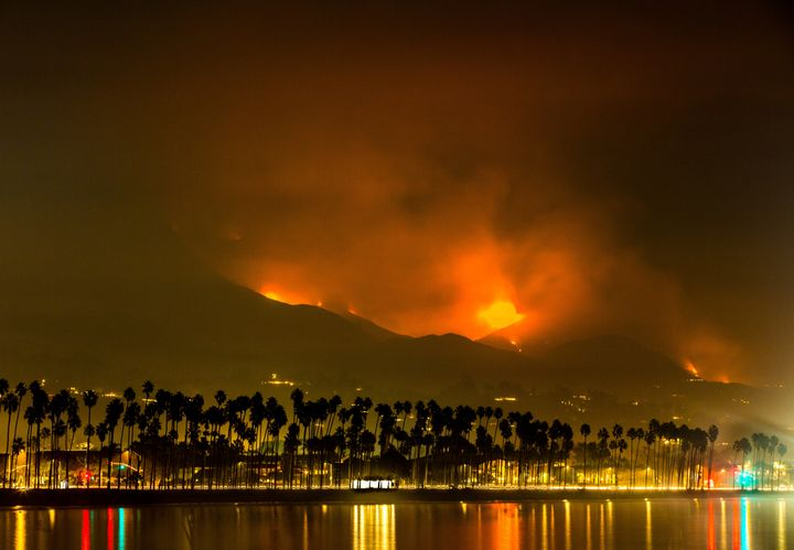 The Thomas fire was still burning in the hills south of Santa Barbara on Friday.
