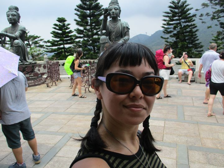 "At Po Lin Monastery on Lantau Island, where I was taking a visiting friend to see the famous ""Big Buddha."""
