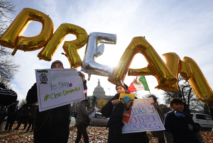 Demonstrators call for a Dream Act vote during a rally on Wednesday, Dec. 6, near the U.S. Capitol.
