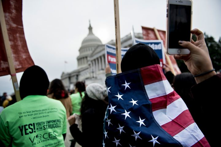Protesters rally on Capitol Hill on Dec. 6 to call for a path to legal status for undocumented young people who came to the U