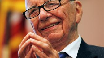 "News Corp Chairman and CEO Rupert Murdoch smiles as he speaks at the ""The Economics and Politics of Immigration"" Forum in Boston, Massachusetts August 14, 2012. REUTERS/Jessica Rinaldi (UNITED STATES - Tags: POLITICS BUSINESS MEDIA PROFILE)"