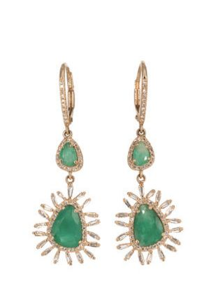 14KT Rose Gold Diamond Pave, Diamond Baguette and Emerald Slice Earrings