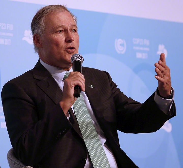 Gov. Jay Inslee discussing the U.S. Climate Alliance during the United Nation's Climate Change Conference's 23rd Conf
