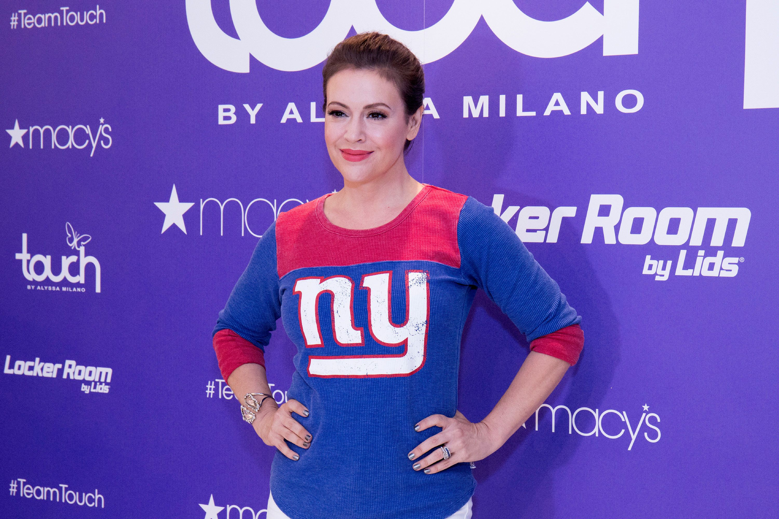 NEW YORK, NY - AUGUST 23:  Alyssa Milano poses for photos during 'Touch By Alyssa Milano' Launch at Macy's Herald Square on August 23, 2017 in New York City.  (Photo by Santiago Felipe/Getty Images)
