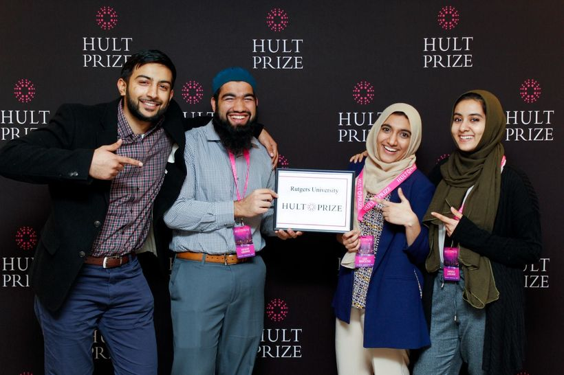 The team after winning the Rutgers-level Hult Prize competition