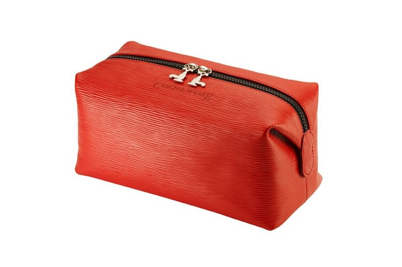 Czech and Speake Wash Bag in soft red leather.