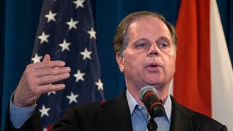 BIRMINGHAM, AL - DECEMBER 13: Senator-elect Doug Jones (D-AL) speaks during a December 13,, 2017 in Birmingham, AL.  Jones stated that President Donald Trump phoned him today to congratulate him on his victory. (Photo by Mark Wallheiser/Getty Images)