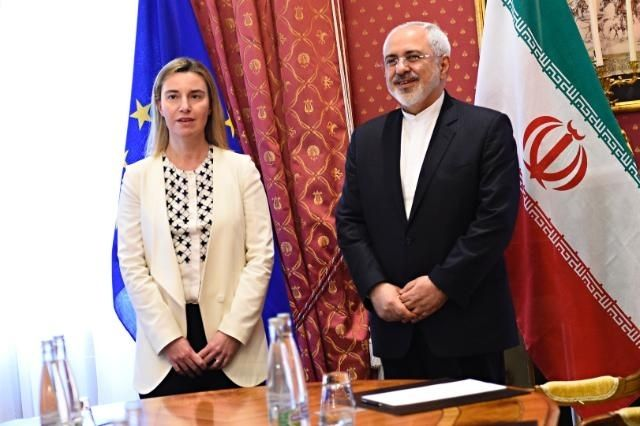 <strong>Javad Zarif, Iranian Foreign Minister, on the right and Federica Mogherini </strong>