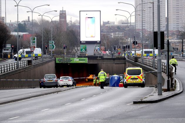 The scene of a multi-vehicle crash at the entrance to the underpass on Lee Bank Middleway, near Edgbaston,...