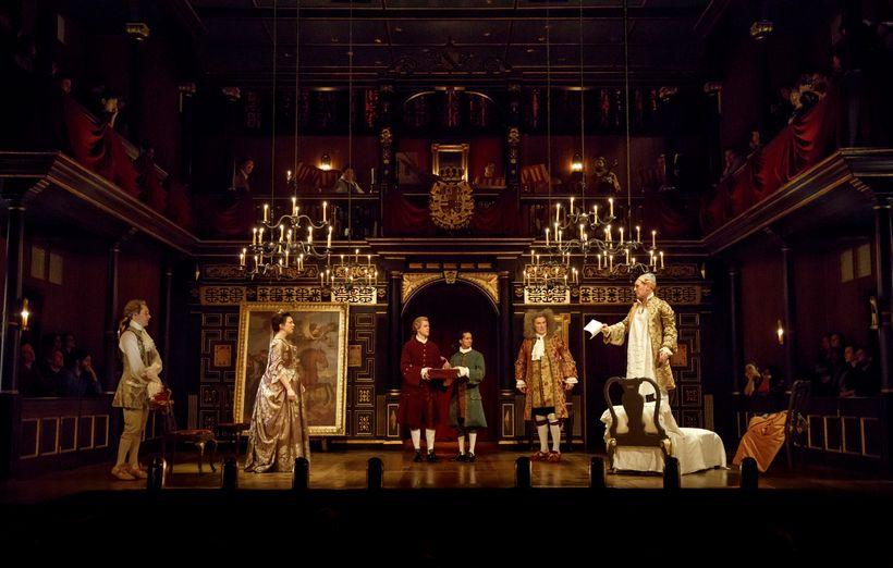 Sam Crane, Melody Grove, Lucas Hall, Huss Garbiya, Edward Peel and Mark Rylance in <em>Farinelli and the King</em>