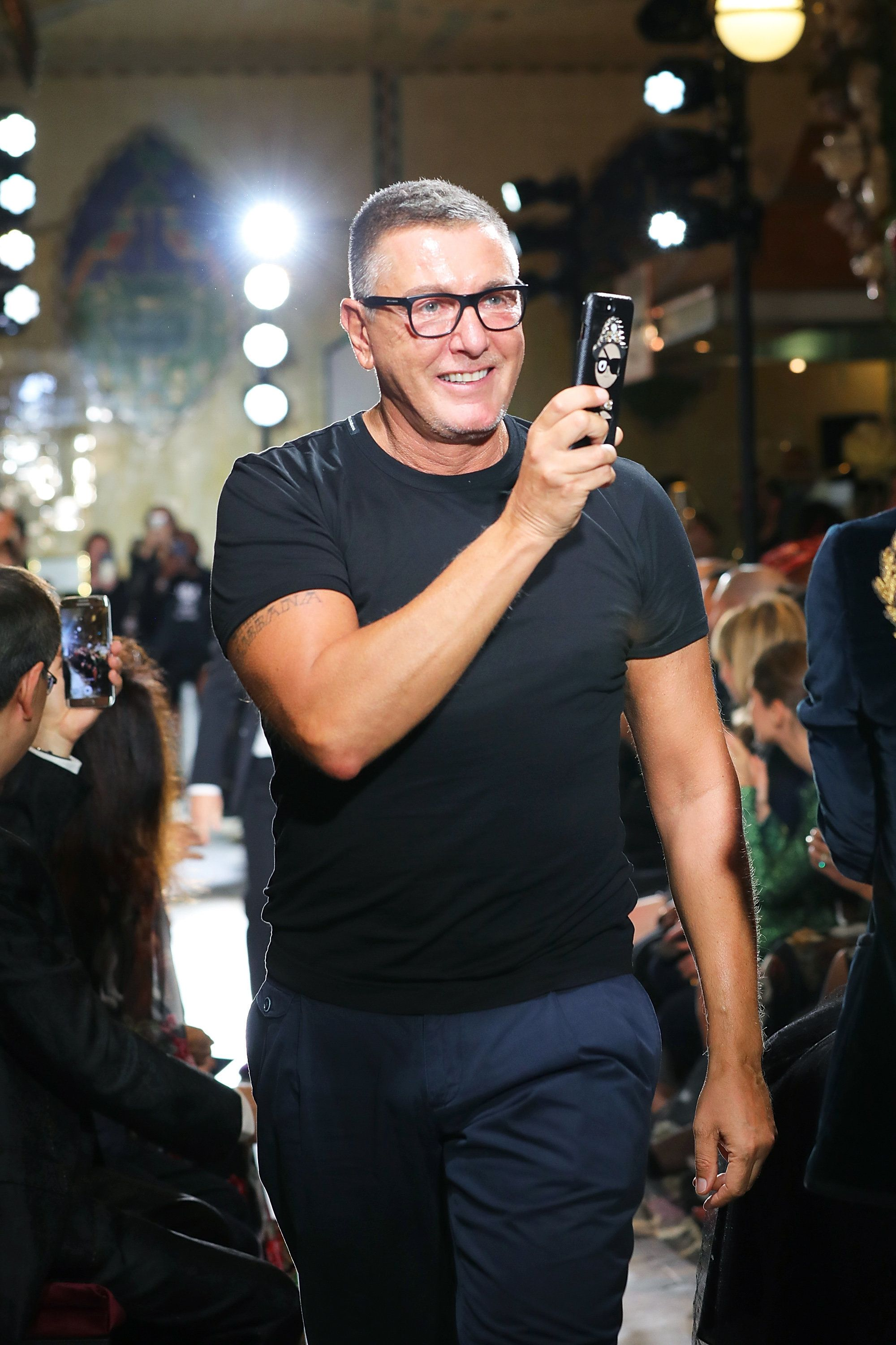 LONDON, ENGLAND - NOVEMBER 02: Stefano Gabbana at the Dolce & Gabbana Sun in a London Night Fashion Show at Harrods on November 2, 2017 in London, England.  (Photo by David M. Benett/Dave Benett/Getty Images for Harrods)