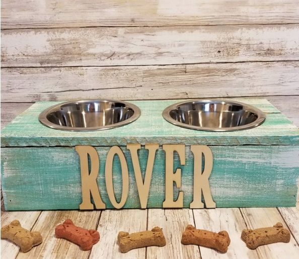 Personalized Rustic Wood Pet Bowl Stand