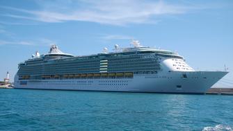 Ibiza, Balearic Islands, Spain -September 01, 2014: Royal Caribbean Cruise, Independence of the Seas, in Eivissa harbor, Ibiza