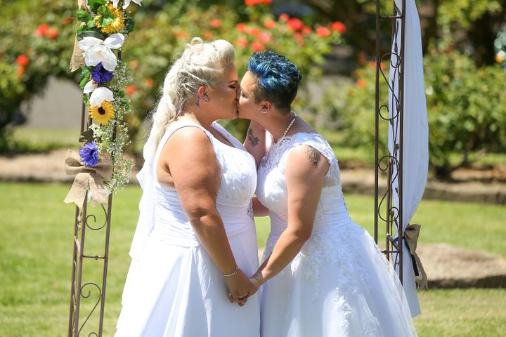 Lauren Price and Amy Laker were among the first LGBT couples to be able to legally marry in Australia.