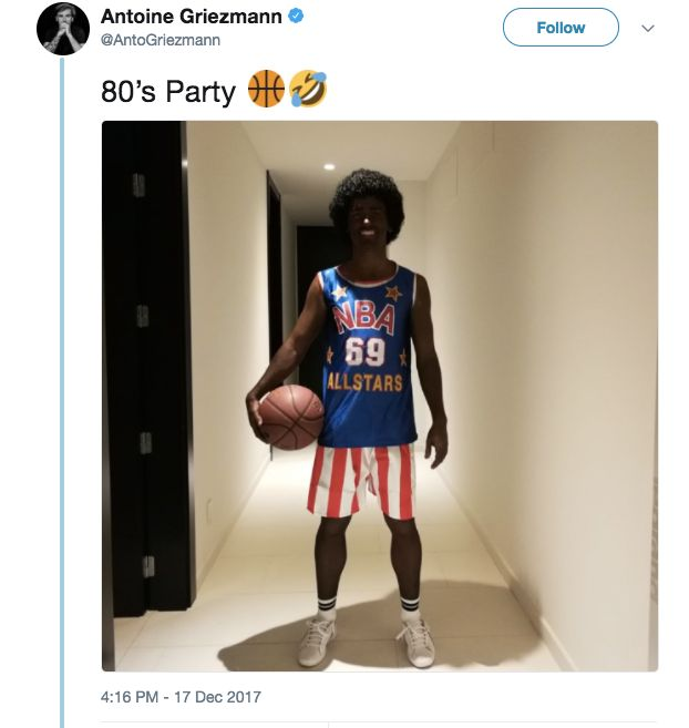Atletico Madrid star Antoine Griezmann apologizes for blackface costume
