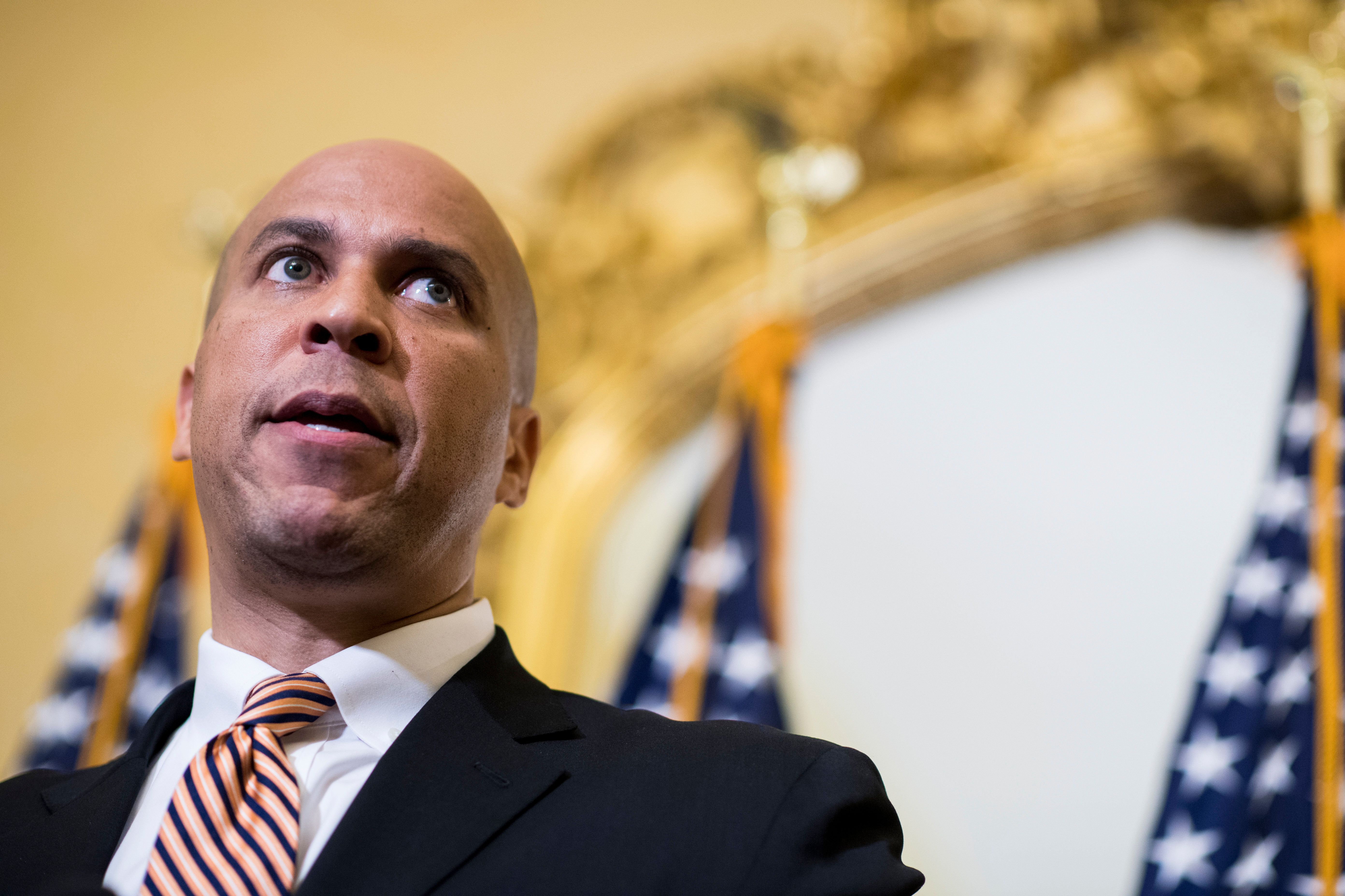 UNITED STATES - JULY 11: Sen. Cory Booker, D-N.J., speaks during the news conference in the Capitol to introduce the 'Dignity for Incarcerated Women Act' on Tuesday, July 11, 2017. (Photo By Bill Clark/CQ Roll Call)