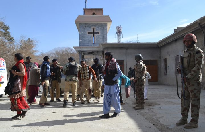 Frontier Corps Soldiers outside an attacked church in Quetta.