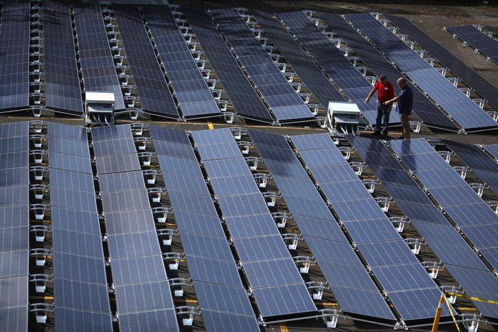 Solar panels that had been set up by Tesla are seen at the San Juan Children's Hospital in October.