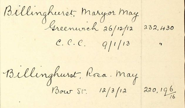 1912 Home Office Index held at The National Archives showing Billinghurst's