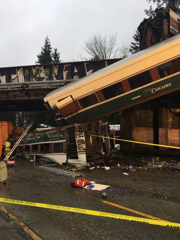 The Amtrak train derailed while traveling over Interstate 5 in Washington state.